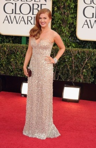 Isla Fisher in Reem Acra. Photo courtesy of movies.yahoo.com