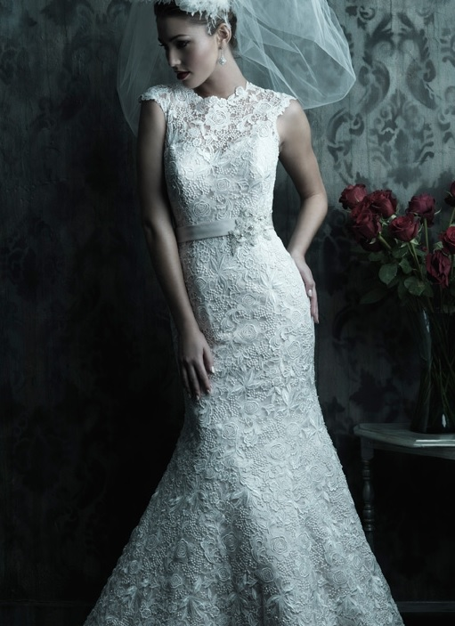 Venice lace, Allure C226, raised neckline wedding gown, dramatic v back, chapel train,