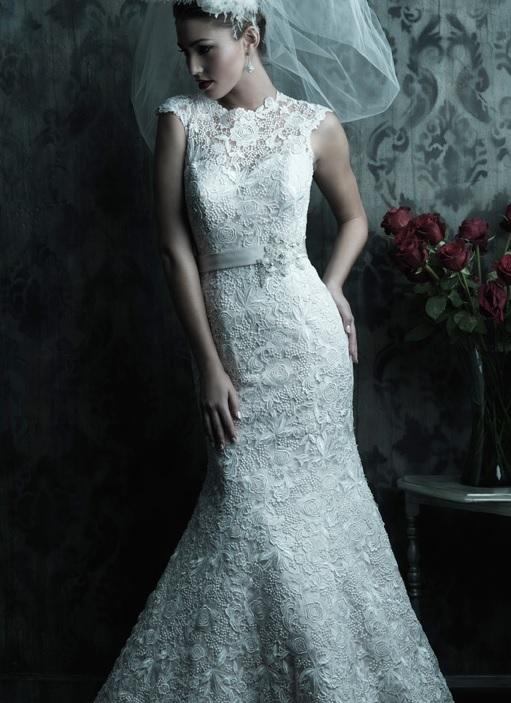 Venice lace, Allure C226, raised neckline wedding gown, dramatic v back, chapel train,