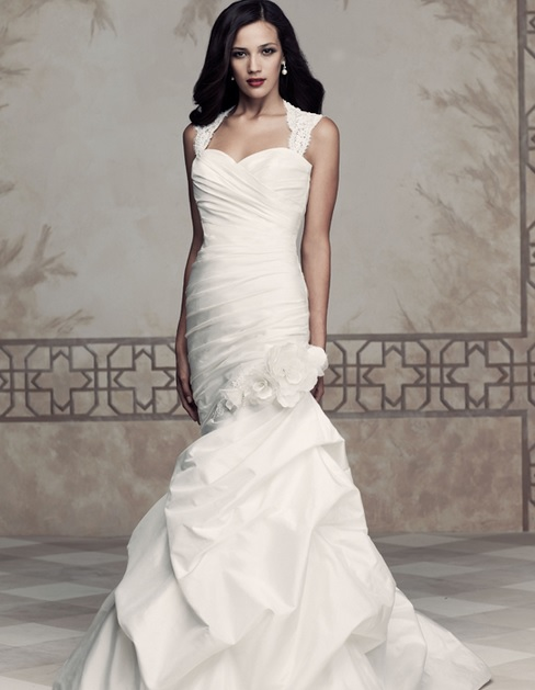 Paloma Blanca 4354. Silk Dupioni gown with lace cap sleeves and key-hole back.