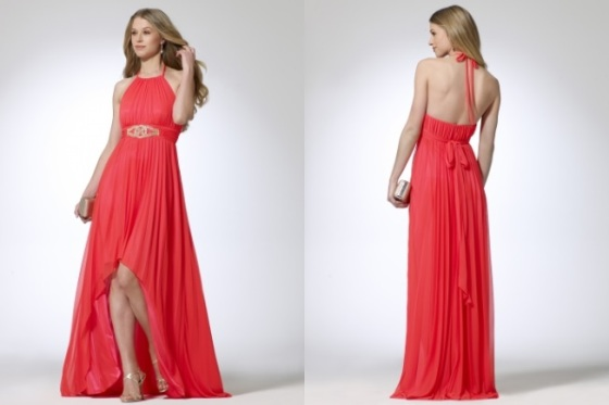 Cache - Pleated hi-low hem in coral - #S8010B22013547