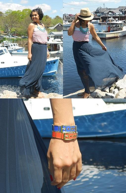 Long navy pleated skirt 510